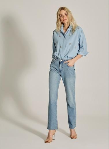 NGSTYLE Taş İşlemeli Denim Gömlek Mavi